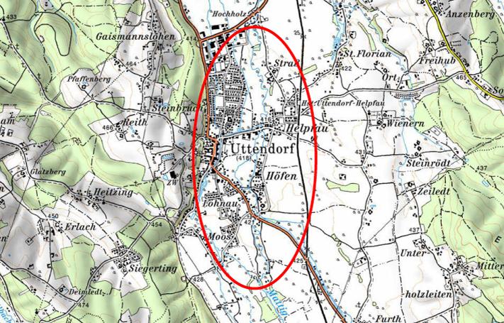 Karte Hochwasserschutz Helpfau-Uttendorf