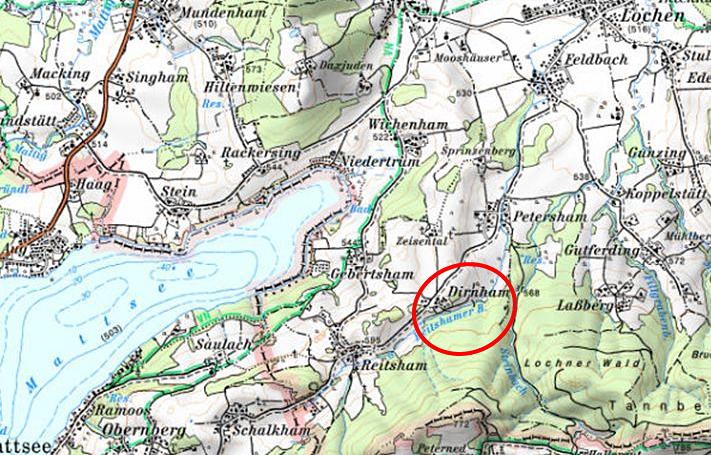Karte Rückhaltebecken Dirnham