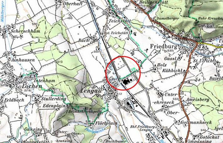Erweiterung Rückhalteversickerungsbecken Lengau - Karte