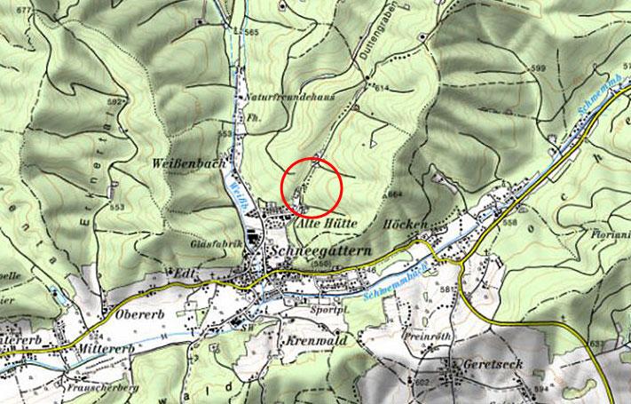 Rückhaltebecken Schneegattern-Alte-Hütte - Karte