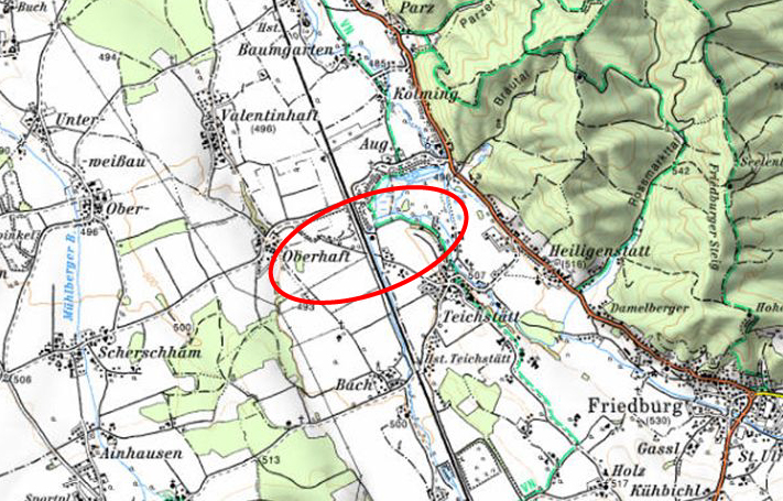 Karte Rückhaltebecken Teichstätt