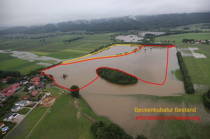 Rückhaltebecken Teichstätt - Hochwasser Juni 2013 - Luftaufnahme mit erforderlicher Beckenkubatur