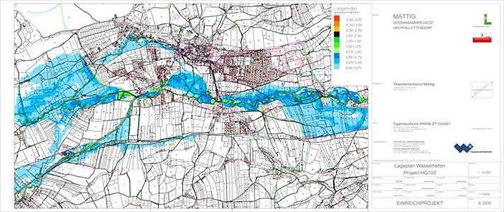 Plan - Wassertiefen HQ100 Ist-Zustand